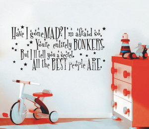 Alice in Wonderland Mad Hatter Quote Large Wall Sticker Decal Mural ...