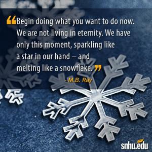 ... and melting like a snowflake.