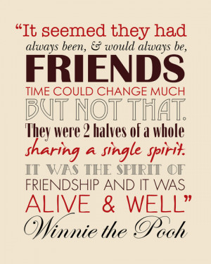 Winnie the Pooh Friendship Quote - Tan & Red Canvas Print