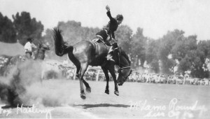 Fox Hastings, famous cowgirl, rides a bucking bronc, McLain Roundup ...