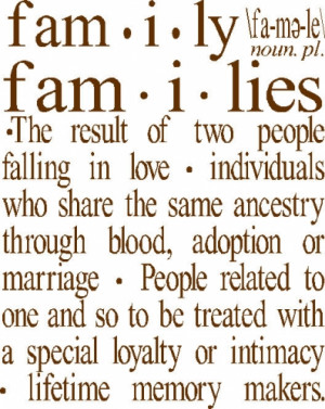 Large FAMILY Definition Vinyl Wall Quote