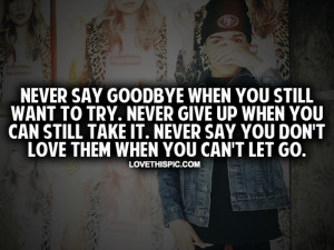 Never Say Goodbye When You Still Want To Try