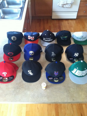 Snapbacks are in the back row. All the rest are fitteds.