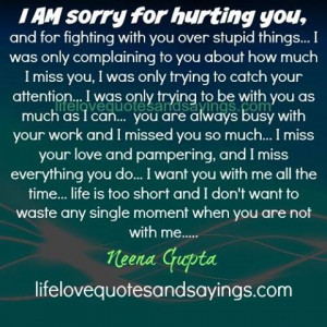 AM sorry for hurting you,