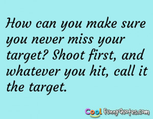 How can you make sure you never miss your target?