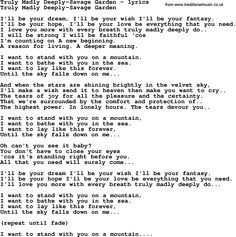 Truly+Madly+Deeply+Song   Love Lyrics for:Truly Madly Deeply-Savage ...