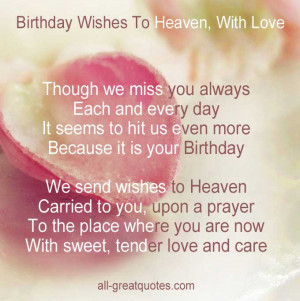 In Loving Memory Cards Birthday Wishes To Heaven