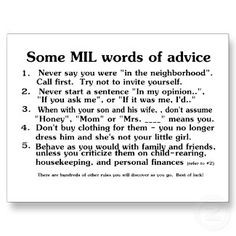 Mother in law words of advice More