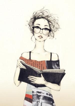 drawing, drawning, geek chic, girl, glasses, sketch