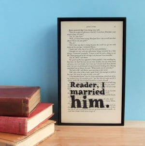 Jane Eyre Wedding Gift Quote on Vintage Book Page Framed Altered Book ...