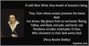 wild West Wind, thou breath of Autumn's being, Thou, from whose ...