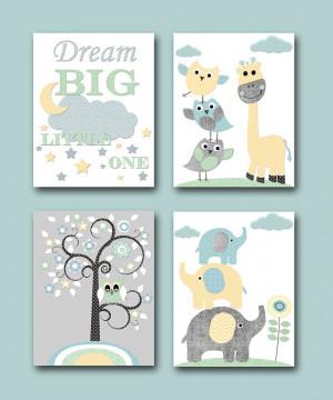 Baby Boy Nursery Quotes Elephant Wall Art Giraffe Wall Art Kids Art ...