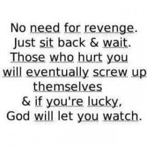 no need for revenge