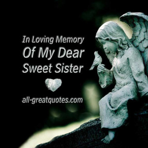 In Loving Memory Cards Sister