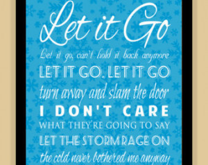 Frozen LET IT GO Typography Quote m odern print poster ...