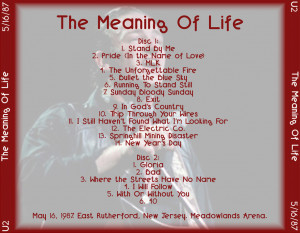 the meaning of life disc 1 1 stand by me 2 pride in the name of love 3 ...