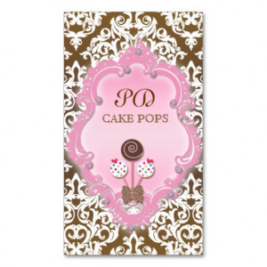 Cake Pops Business Card Retro Damask Brown Pink