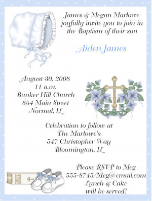 Shop our Store > Baby Boy Baptism/Christening Invitations