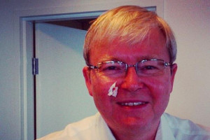 Kevin Rudd takes a 'selfie' after cutting himself while shaving. July ...