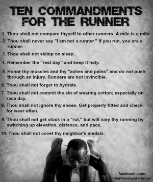 The Ten Commandments for Runners