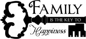 quotes vinyl wall decals wall sayings key to happiness family is key ...