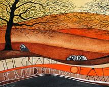 Badgers - Wild Animals in the Woods A3 Art Print of Original ...