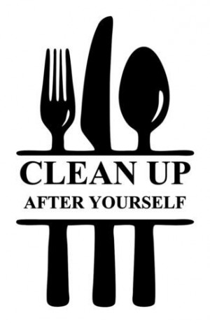 Kitchen Clean Up After Yourself Ustensil Diner Room Quote Home Wall ...