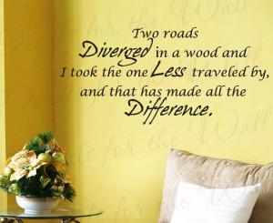 Two Roads Diverged Wood Robert Frost Inspirational Motivational Wall ...