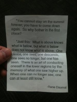 Climbing Quote by Rene Daumal