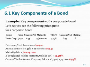 ... bond Lets say you see the following price quote for a corporate bond