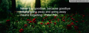say goodbye, because goodbye means going away and going away means ...