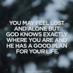 You may feel alone and lost, Always remember god knows your current ...
