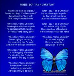 When I say I am a Christian poem with blue butterfly