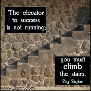 The elevator to success is not running; you must climb the stairs.
