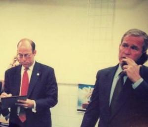 Ari Fleischer with President George W. Bush on September 11, 2001.