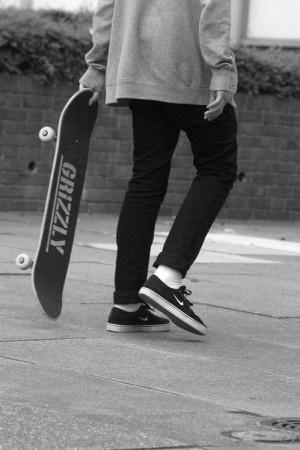 skateboarding Black and White queue johnny