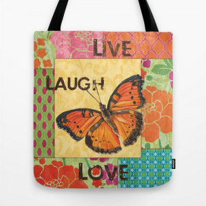 Gypsy Butterfly Inspirational Quote Colorful, washable Tote Bag ...