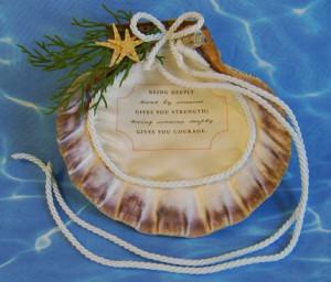 Beach Wedding Lions Paw Seashell Ring Holder w/ Love Quote