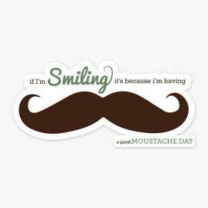 Printed Moustache Quote Sticker