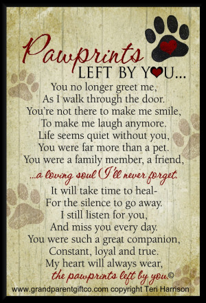 Pet Loss Poem: Pawprints Left by You