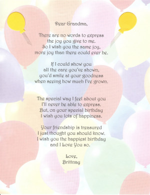 Poems For Grandma Birthday