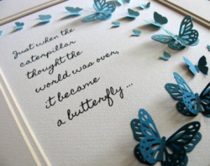 3D Butterfly Word Art. Caterpillar into Butterfly Quote. Encouragement ...