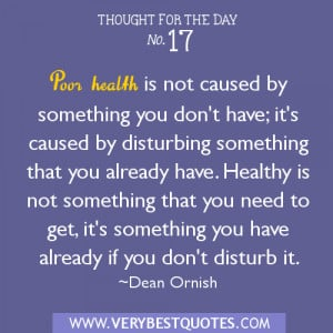 Thought for the day – poor health, healthy quotes