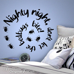 ... Bedroom Decor, Bed Bugs Decal, Funny Quote Wall Decal, DIY Home Decor