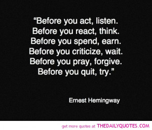 Ernest Hemingway Quotes Inspirational About Life Love