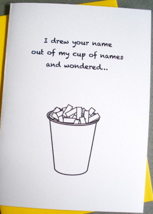 Funny Thinking of You Card - Cup of names