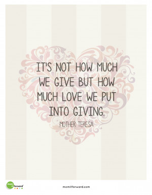 Being A Mom Quotes Mother teresa giving quote