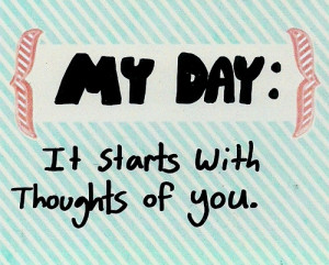 ... Romantic dating stripes Thinking of You cute quote my day baby blue