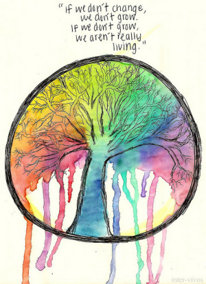 pretty art tree quote hippie live Change hippy living rainbows tree of ...