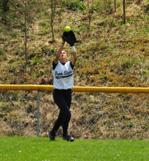 Softball outfielder catch